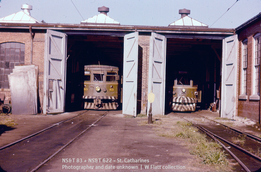 NS&T 83 + 620-series, car barn, St. Catharines